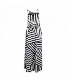 dlouhé plážové šaty s pruhy letní řecké bílo-černá