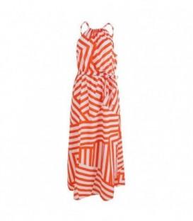 dlouhé plážové šaty s pruhy letní řecké  bílá-oranžová