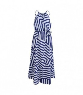 dlouhé plážové šaty s pruhy letní řecké bílá-modrá