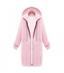 dlouhá sportovní mikina zip kapuce barvy tepláková růžová