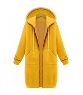 dlouhá sportovní mikina zip kapuce barvy tepláková žlutá
