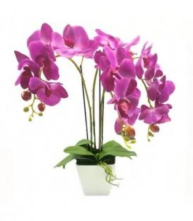 UMĚLÁ ORCHIDEJ v krásném bílém květináči fialový