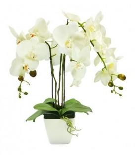 UMĚLÁ ORCHIDEJ v krásném bílém květináči
