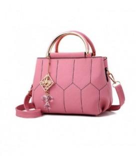 Dámská kožená kabelka kufřík růžový