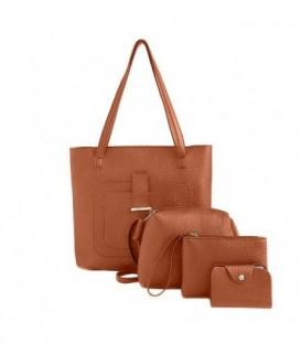 Sada 4w1:velká kabelka, malá kabelka, kosmetička, držák na vizitky hnědá