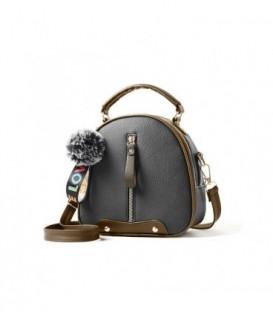 Dámská kabelka kufřík přívěsek šedá