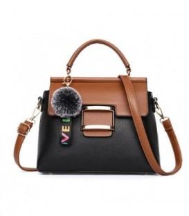 Dámská kabelka kufřík přívěsek černá hnědá
