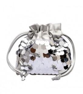 Dámská kabelka malý flitry stříbro
