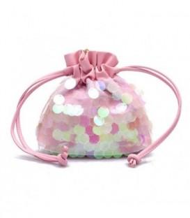 Dámská kabelka malý flitry růžový
