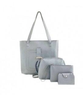 Sada 4w1:velká kabelka, malá kabelka, kosmetička, držák na vizitky světle šedá