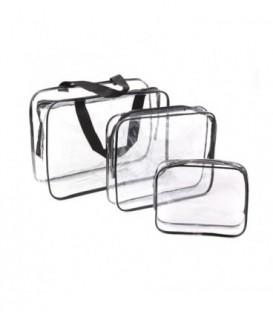 Sada 3w1: kabelka,  kosmetička průhledný