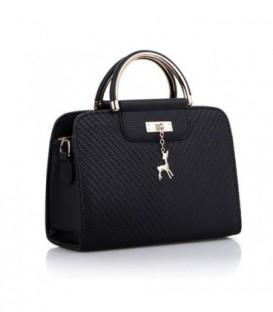 Dámská kožená kabelka malý černá