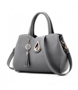 Dámská kožená taška velká taška šedá
