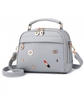 Dámská kožená kabelka kufřík šedá