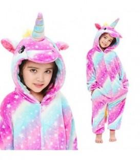 ONESIE PYŽAMO pro děti PEGASUS fialové hvězdy