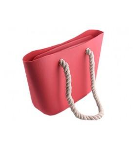 Blogerská o taška gumová taška shopper jelly bag  červená