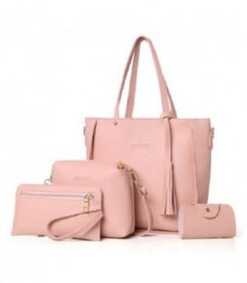 Sada 4w1:velká kabelka, malá kabelka, kosmetička, držák na vizitky tmavě světle růžový
