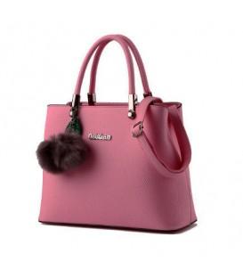 Dámská velká kabelka kufřík přívěsek tmavě růžová