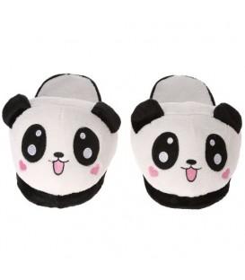 PROTISKLUZOVÉ PAPUČE PANDA srdíčka bílá