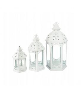 Lucerna, lampion, lučernička vintage bílá 3 ks XL