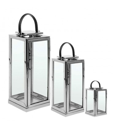 Set 3 lucerny lampiony lucerničky střibrné sklo