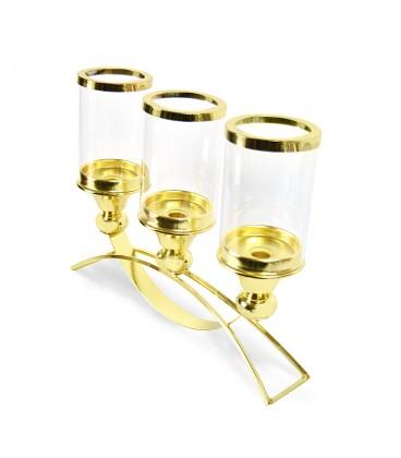 LAMPION SVÍCEN elegantní ZLATÝ kov sklo