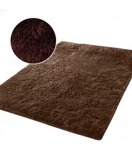 Měkký plyšový koberec chlupatý mikrovlákna 160x230 hnědý