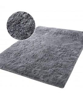 Měkký plyšový koberec chlupatý mikrovlákna 160x230 stříbro