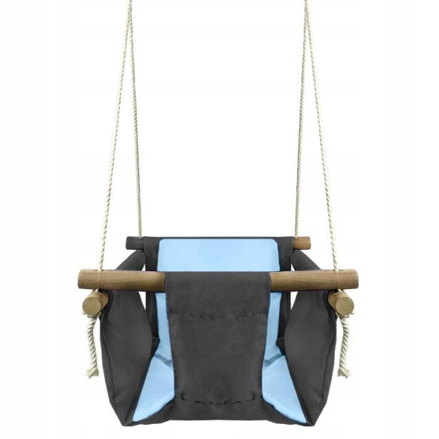 DŘEVĚNÁ HOUPAČKA PRO DĚTI + polštáře Modré