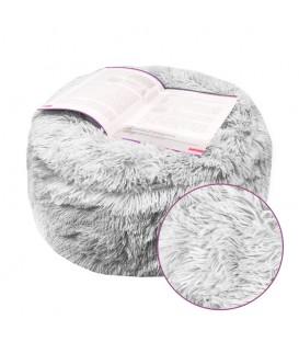 plyšový TABURET nafukovací měkký chlupatý pohodlný šedý