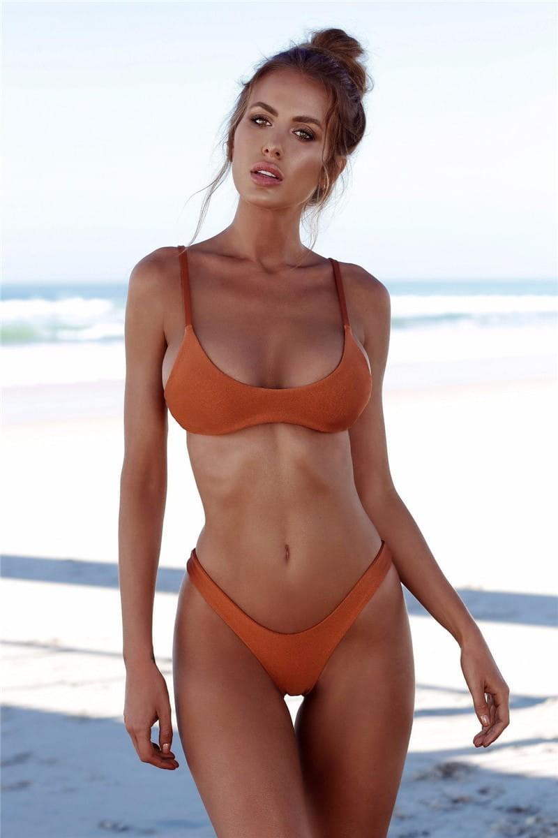 bikiny PLAVKY sexy kalhotky tanga Oranžový IK29