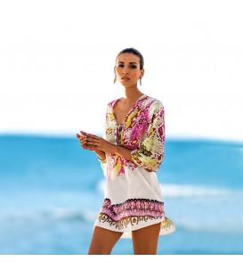 plážová tunika PAREO gauzy šaty Bílý pelerína A1