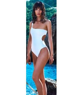 MONOKINY jednodílné plavky Bílý zářez na boku jednom rameni 11