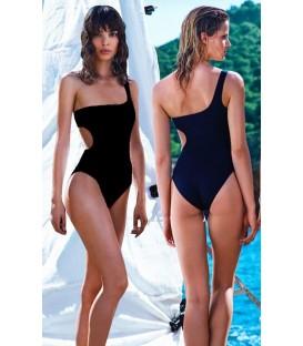 MONOKINY jednodílné plavky Černá zářez na boku jednom rameni 11