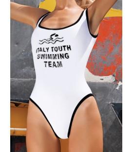 monokiny JEDNODÍLNÉ plavky sportovní bílý a černý 17BK116