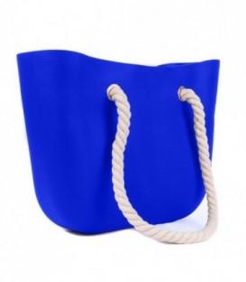 Blogerská o taška gumová taška shopper jelly bag modrý