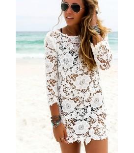 Plážové šaty tunika PAREO krajkové květiny A14