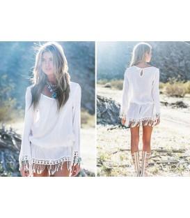 plážové šaty TUNIKA boho květiny PAREO krajka A5
