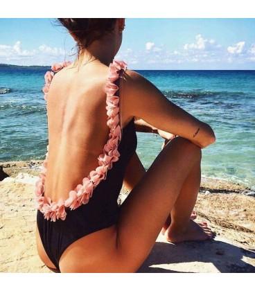 MONOKINY jednodílné plavky Černá květiny