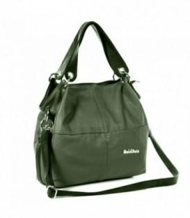 Dámská kožená kabelka trapéz WEIDIPOLO polo tmavý khaki  WS1011