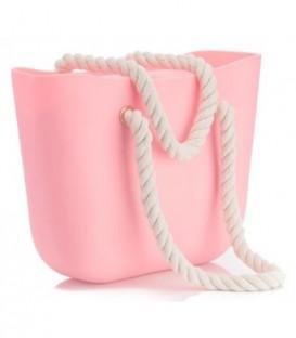 Blogerská o taška gumová taška shopper jelly bag prášek růžový