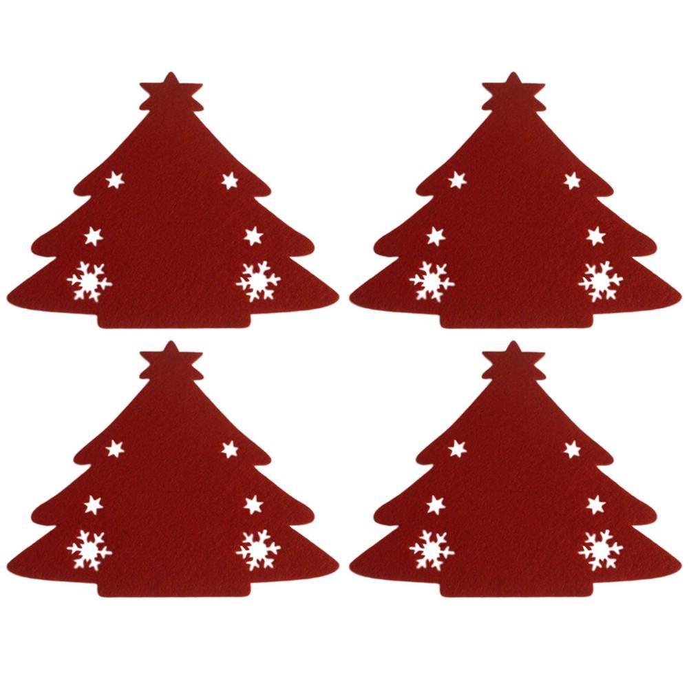 Obleček na příbory stromeček, obal, červený 4ks