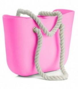 Blogerská o taška gumová taška shopper jelly bag růžový neon