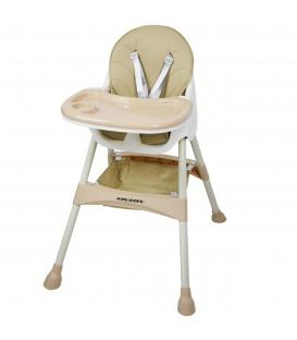 Dětská židlička na krmení je regulována talířem s růžovými křesly
