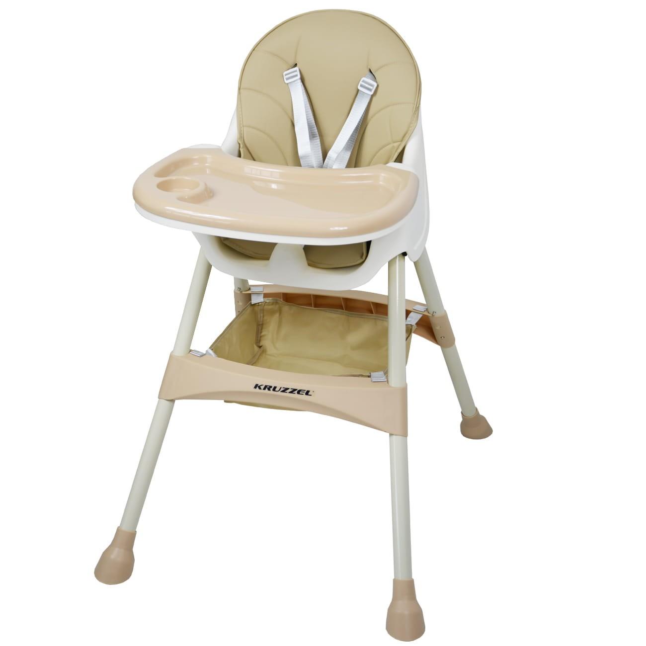 Vysoká židle pro krmení dítěte, nastavitelný podnos, béžové sedadlo