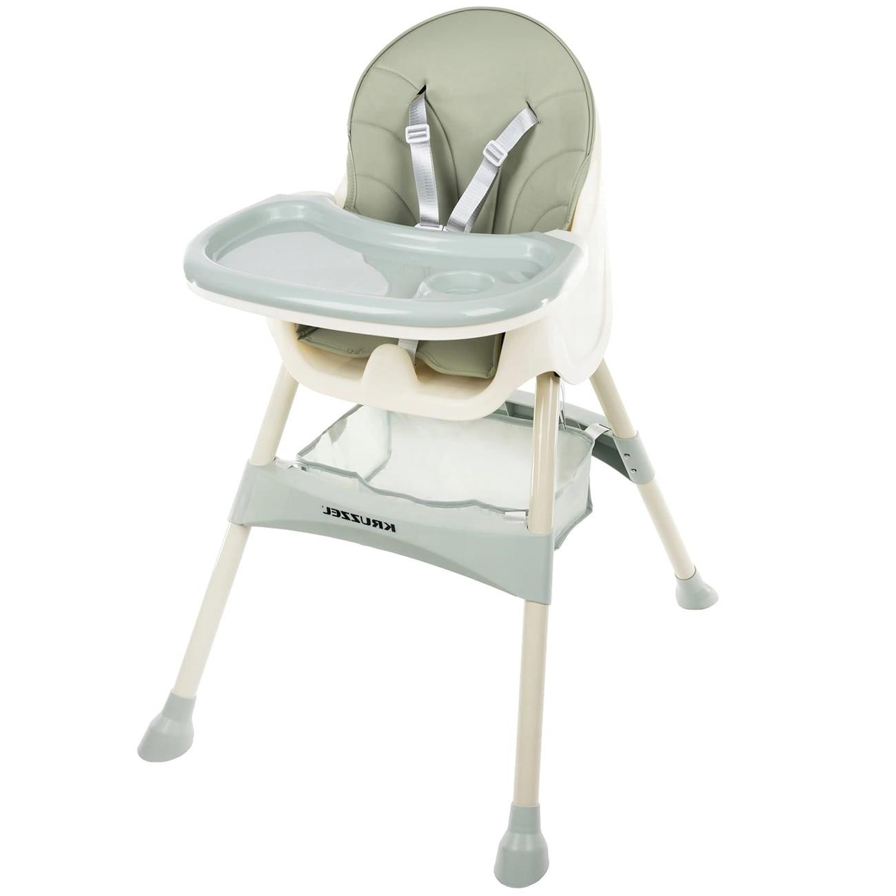 Vysoká židle pro krmení dítěte, nastavitelný podnos, zelené sedadlo
