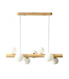 Závěsná lampa, dřevěný lustr, skleněné koule
