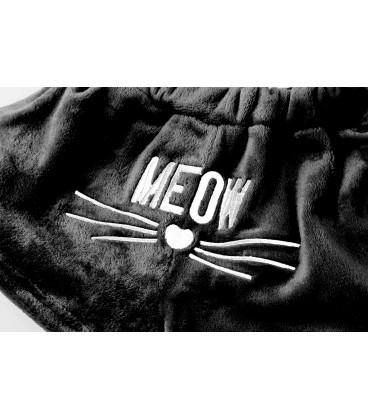 Pyžama kočka teplý sada meow černá