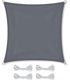 SLUNEČNÍ PLACHTA stříška STÍNĚNÍ 5x5 m šedá